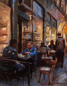 "Daily Paintworks - ""Greenwich Village Chess Match"" - Original Fine Art for Sale - © Jonelle Summerfield New Fine Arts, Art Through The Ages, Building Painting, Time Art, Fine Art Gallery, Cool Artwork, Painting Techniques, Portrait, Photo Art"