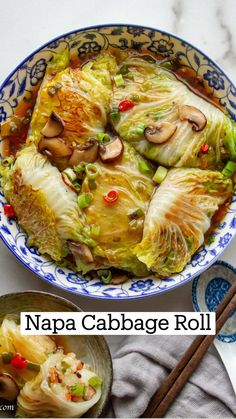 Vegan Cabbage Recipes, Vegetarian Cabbage Rolls, Cabbage Rolls Recipe, Veggie Recipes, Asian Recipes, Vegetarian Recipes, Cooking Recipes, Healthy Recipes, Ethnic Recipes