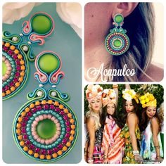 Diy Jewelry, Handmade Jewelry, Jewelry Making, Soutache Earrings, Beaded Rings, Paper Quilling, Colorful Fashion, Beaded Embroidery, Crafts