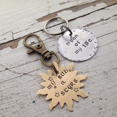 Game of thrones keychain set my sun and stars moon of my life hand stamped Khal khaleesi copper sun aluminum moon key ring