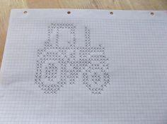Graph pattern for tractor Knitting Machine Patterns, Sweater Knitting Patterns, Knitting Designs, Crochet Patterns, Baby Blanket Crochet, Crochet Baby, Baby Barn, Knit Dishcloth, Fair Isle Knitting