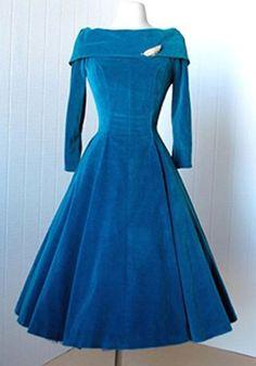 Retro Style Slash Neck Solid Color Long Sleeve Flare Midi Dress For Women