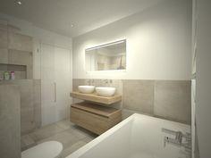 Badkamer ontwerp met ligbad onder het grote raam, zwevend badmeubel met dubbele wastafel en spiegel, glazen douchewand met glazen deur en zwevend toilet.
