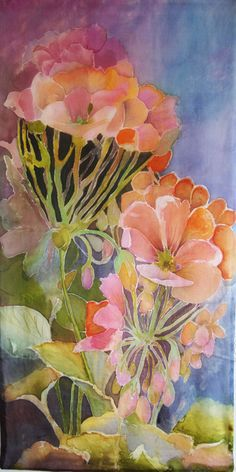 This painting is called Heranium (Cranesbill / Pelargonium). My silk wall hangings are highly artistic and ultimately they are paintings. Ready to