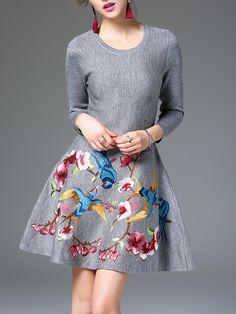 #AdoreWe Jade&Cloud Casual Long Sleeve A-line Embroidered Mini Dress - AdoreWe.com