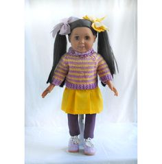 the latest addition to my #etsy shop: 18 inch Doll Clothes, American Girl, Rams Sports Team, Gold Yellow Purple Sweater, Yellow Skirt, Shoes, Cheer Leader http://etsy.me/2CU8MJ3 #toys #sweaters #yellow #birthday #purple #valentinesday #18inchdollclothes #ramssportsteam