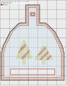 christmas tree towel holder Plastic Canvas Christmas, Plastic Canvas Crafts, Plastic Canvas Patterns, Embroidery Patterns, Cross Stitch Patterns, Stitching Patterns, Canvas Door Hanger, Towel Holders, Napkin Holders