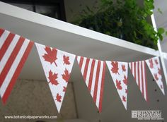 A fun project to help you with decorating for Canada Day. This free printables flag bunting is easy and fun to do. It's even better when printed on seed paper, that way you can send your guests home with a eco-friendly favor that will grow wildflowers. Canada Day Party, Canada Day Flag, O Canada, Pinwheel Craft, Canada Day Crafts, Canada Holiday, Farewell Parties, Seed Paper, Pennant Banners