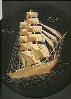 Sailing Ship. Nautical collectible handmade with rice leaves. Marine art, tallship sailing in sea. Round base with hook  ETSY by museumshop on Etsy