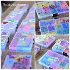 """Rainbow Loom Birthday Party Ideas (""""Goodie Bags"""" - fill & decorate your own storage boxes. Rainbow Loom Organizer, Rainbow Loom Storage, Rainbow Loom Party, Rainbow Loom Bands, Rainbow Fruit, Rainbow Parties, Rainbow Loom Bracelets, Crazy Loom, Rainbow Loom Patterns"""