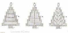 Filet Christmas tree diagram only ♥LCD♥ Solo esquemas y diseños de crochet: MINIATURAS NAVIDEÑAS