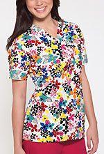 V-Neck Top Brightly Blooming. #Dickies #print #scrubs #top #nurses