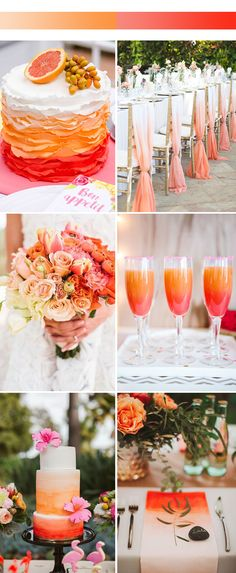 Unique Ombre Wedding Color Ideas for 2017 Spring Peach Wedding Colors, Orange Wedding, Wedding Flowers, Wedding Bells, Church Wedding Decorations, Wedding Themes, Wedding Ideas, Themed Weddings, Wedding Dresses