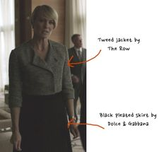 claire house of cards hoc tweed blazer jacket black skirt season 3 chapter 31