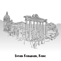 Stock Image from $0.99, Forum Romanum, Rome, Greeting Card #travel #architecture #vector #panorama #print #black #design #sketch #card #drawing