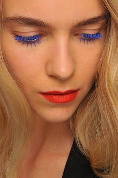 Electric blue lashes #mascara #beauty #makeup #lipstick #red