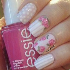 to a year ago. Probably my most liked recreated mani! Easter Nail Designs, Nail Art Designs, Spring Nail Art, Spring Nails, Nail Manicure, Nail Polish, Gel Nail, Essie, Fun Nails