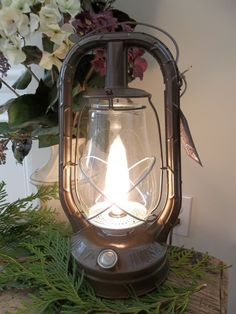 1945 Dietz Monarch - Renovated electric lantern lamp. Lantern Lighting, Lantern Lamp, Lamp Light, Light Bulb, Electric Lantern, Single Tree, Wagon Wheel Chandelier, Ceiling Fixtures, Home Accessories