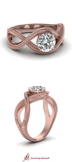Knotted V Ring ||  Round Cut Diamond Solitaire Ring With White Diamonds In 14k Rose Gold