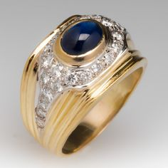 Blue Sapphire Cabochon & Diamond Vintage Mens Ring 18K