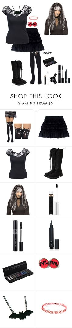"""Goth Girl"" by nobledynasti ❤ liked on Polyvore featuring Faith Connexion, Jane Norman, Rick Owens, Rubie's Costume Co., Anastasia Beverly Hills, Chanel and Christian Dior"