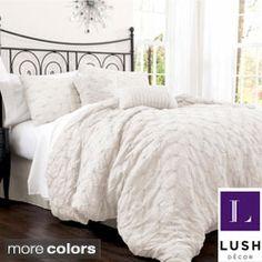 Lush Decor Lake Como 4-piece Ivory Comforter Set