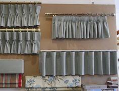 Types of curtain headings Drapery, Valance Curtains, Bedroom Curtains, Curtain Headings, Types Of Curtains, Curtain Styles, Corner Shelves, Roof Design, Window Treatments