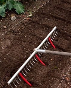 Brilliant idea...Rake with cut off tubes for pre-measured row spacing!!