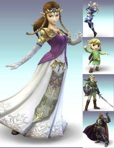 Princess Zelda, Sheik, Toon Link, Link & Ganondorf Wii Games, Sheik, Super Smash Bros, Nintendo Wii, Princess Zelda, Link, Fictional Characters, Fantasy Characters