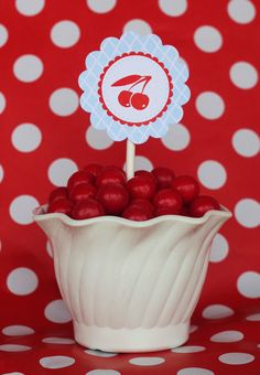 24 Cherry Picnic Party Circles cupcake toppers by partypapers, $10.00
