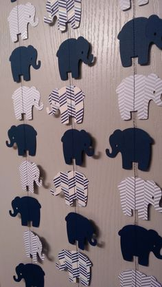 Elephant Paper Garland Navy Blue, Gray Chevron Two Sided Streamers, Baby Shower…