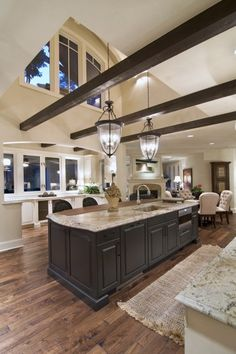 Gorgeous beams, vaulted ceiling, open to great room
