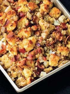 Corn Bread Stuffing with Apples, Bacon and Pecans; In Texas, we would call this dressing, not stuffing.  I am intrigued with this recipe.  It is worth a try for sure.
