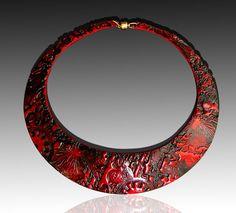 Bold red and black polymer clay signature bib par adrianaallenllc