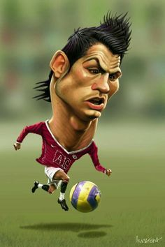Cristiano Ronaldo, Portugal's soccer superstar, is caricaturized in this art piece. His hair is often noted for being well maintained, as well as his ego; hence his head being larger than any other part of his body. Funny Face Drawings, Funny Faces, Cartoon Drawings, Caricature Artist, Caricature Drawing, Funny Caricatures, Celebrity Caricatures, Famous Cartoons, Funny Cartoons