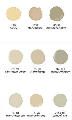 Some favorite neutral Ben Moore colors
