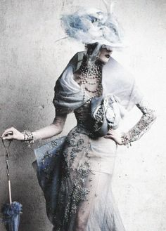 Stella Tennant in Christian Dior Haute Couture Spring 2005. Photographed by Patrick Demarchelier for Vogue Russia, June 2011 ('Inspiration Dior').