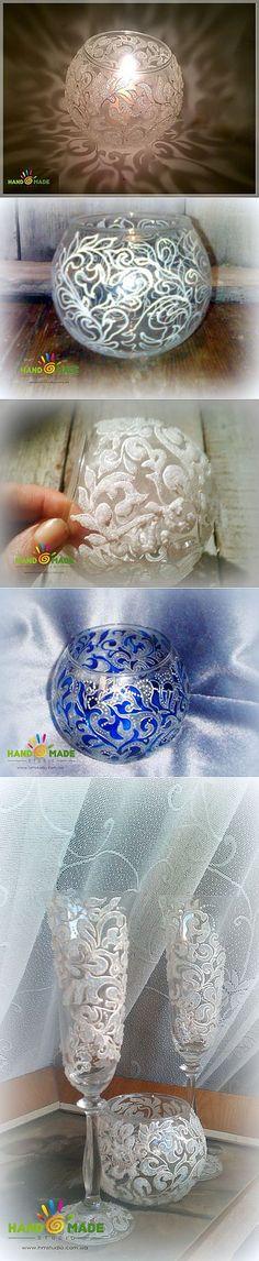 Морозный узор на вазе | Умелые ручки | Роспись по стеклу | Постила