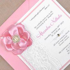 Zaproszenie koronka z kwiatkiem