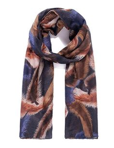 Classy Animal Large Feather Print Blue Brown Pashmina Scarf Wrap Shawl New SS17 #unbranded #Scarf