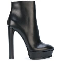 Casadei platform ankle boots (3.680 RON) ❤ liked on Polyvore featuring shoes, boots, ankle booties, black, leather bootie, black leather boots, black platform boots, platform booties and black leather ankle booties