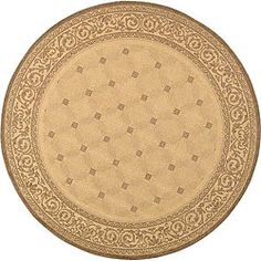@Overstock - Featuring neutral shades of tan and brown, this round indoor-outdoor rug showcases a tufted design and scroll border that will look stunning with your iron patio set, and the polypropylene pile resists mildew, mold, and weather for added convenience.http://www.overstock.com/Home-Garden/Indoor-Outdoor-Bay-Natural-Brown-Rug-53-Round/2489879/product.html?CID=214117 $41.84