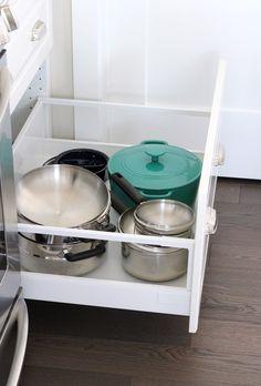Kitchen Storage Ideas - Oversized Drawer for Pots and Pans - White IKEA Kitchen Ikea Kitchen Drawers, White Ikea Kitchen, Kitchen Cupboard Organization, Ikea Kitchen Cabinets, Cupboard Drawers, Diy Drawers, Cupboard Storage, Kitchen Storage, Organized Kitchen