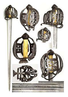 Scottish Basket Hilt by Thomas Gemmill antler grip Date: Circa 1690-1720 (17-18th Century) Nationality: Scottish (Glasgow)Ethnographic Arms & Armour - Basket hilted swords
