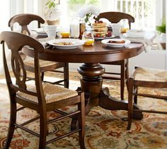 Like the table for the breakfast room, but not the chairs. Prefer fabric chairs.  ~Tivoli Extending Pedestal Dining Table (15% discount would be 680.oo)