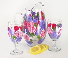 Hand Painted Pitcher and Beverage Glasses  by HandPaintedPetals, $77.00