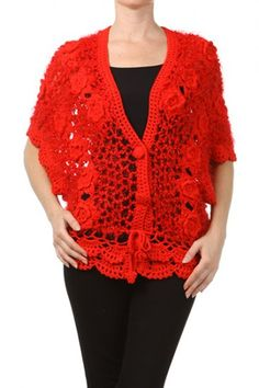 80 percent Acrylic 20 percent Polyester 1S/1M/1L/1XL Per Pack Red (shown), Teal, Black, Off White This HIGH QUALITY sweater is BEAUTIFUL!! Made from a super soft and comfy fabric, this solid crochet button down sweater with wide sleeves and front tie is hand washable, and fits true to size.