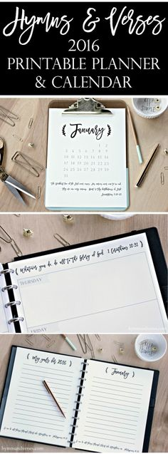 Hymns and Verses 2016 Printable Planner and Calendar