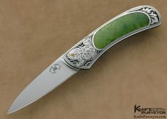 Steve Hoel Custom Knife Jade Interframe Lockback Engraved by Jon Robyn - Steve Hoel custom knife - image 1