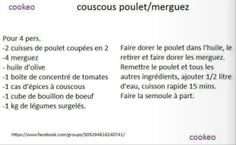 couscous poulet merguez cookeo Math Equations, Cooker Recipes, Drinks, Tomato Paste
